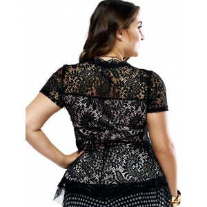 Plus Size Chic Lace Patchwork Layered Blouse -