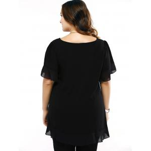 Plus Size Brief Flounced Sleeve Loose Blouse -