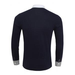 Stand Collar Color Block and Stripe Splicing Design Long Sleeve T-Shirt For Men -