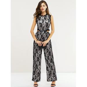 Chic Lace Floral Pattern Zipper Design Women's Jumpsuit -
