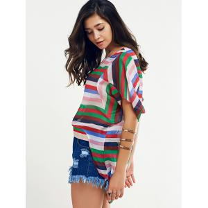 Colorful Batwing Sleeve Striped T-Shirt For Women -