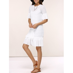 Striped Knitted Flare SLeeve Ruffled Dress Twinset -
