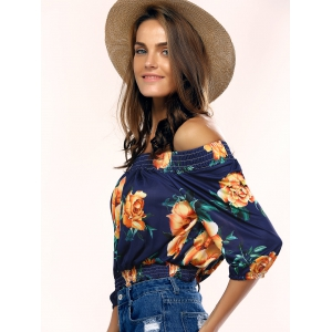 Stylish Off The Shoulder Floral Print Blouse For Women - PURPLISH BLUE S