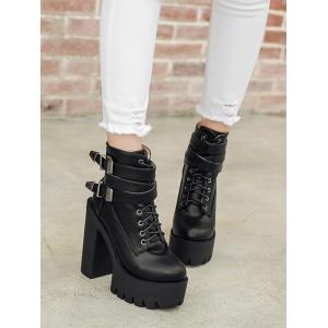 Trendy Tie Up and Double Buckle Design Short Boots For Women -