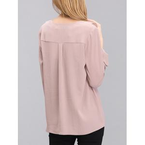 Sweet Flare Sleeve Front Frilled Chiffon Blouse For Women -