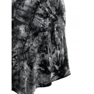 Short Sleeve Round Neck Tie-Dyed Asymmetric Dress - BLACK L