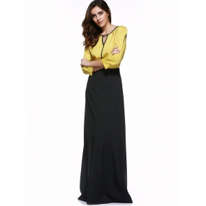 High Waist Hit Color Maxi Dress -