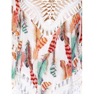 Ethnic Crochet Flare Sleeve Feather Print Blouse For Women -