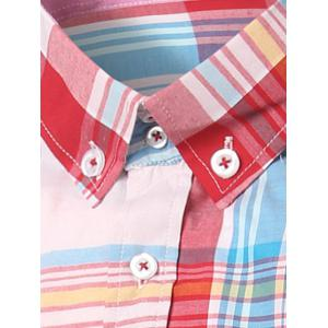 Classic Turn-Down Collar Long Sleeve Pink Plaid Shirt For Men -