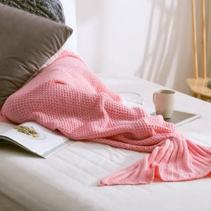 Handmade Knitted Home Decor Mermaid Tail Blanket - PINK L