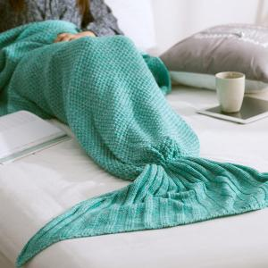 Handmade Knitted Home Decor Mermaid Tail Blanket - MINT GREEN L