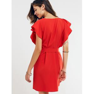Cap Butterfly Sleeve A-Line Dress - RED XL