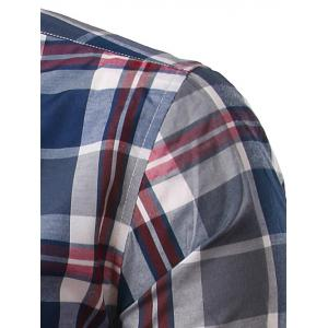 Classic Turn-Down Collar Long Sleeve Deep Blue Plaid Shirt For Men -