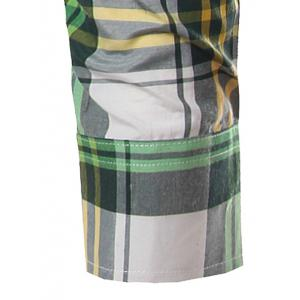 Classic Turn-Down Collar Long Sleeve Yellow and Green Plaid Shirt For Men -