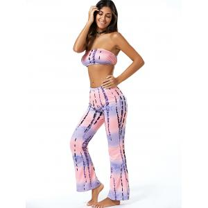 Tie Dye Ombre Tube Top and  Bell Pants Twinset -