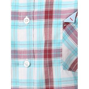 Chic Folded Pocket Long Sleeve Light Blue and Red Tartan Shirt For Men - BLUE AND RED 3XL