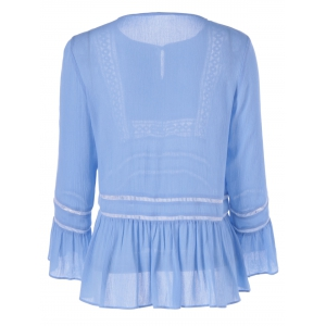 Elegant Long Sleeves Drawstring Scoop Neck Splice Lacy Flounce Blouse For Women -