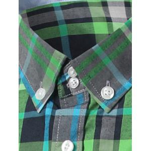 Chic Folded Pocket Long Sleeve Deep Green Tartan Shirt For Men -