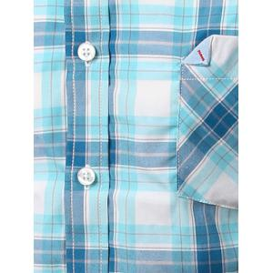 Chic Folded Pocket Long Sleeve Light Blue Tartan Shirt For Men -
