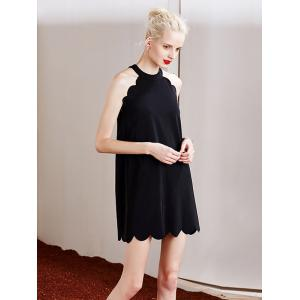 Stylish Round Neck Sleeveless Full Black Women's Dress -