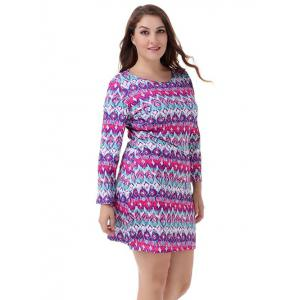 Plus Size Graphic Long Sleeve Tee Dress - COLORMIX 4XL
