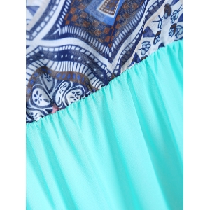 Ethnic Color Block Boob Tube Dress - WHITE + BLUE + GREEN L