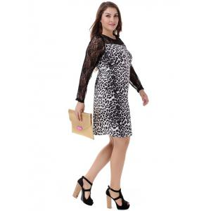 Plus Size Sophisticated Leopard Long Sleeve Sheath Dress -