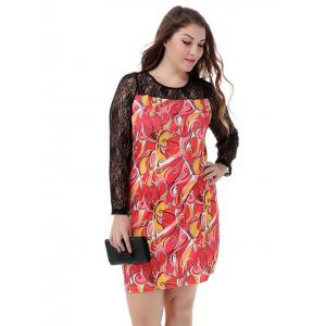 Plus Size Elegant Lace Sleeve Dress -