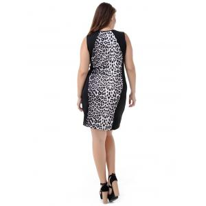 Plus Size Leopard Sleeveless Bodycon Dress -