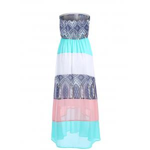 Ethnic Color Block Boob Tube Dress - COLORFUL XL