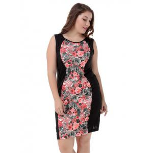 Plus Size Elegant Sleeveless Floral Dress -