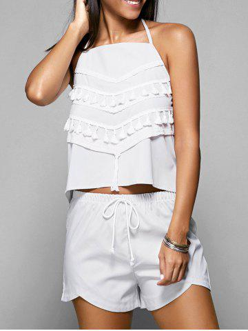 Discount Halter Backless Top and Drawstring Loose Shorts Women's  Twinset