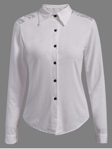 Casual Shirt Collar manches longues single-breasted Minceur Femmes  's Shirt