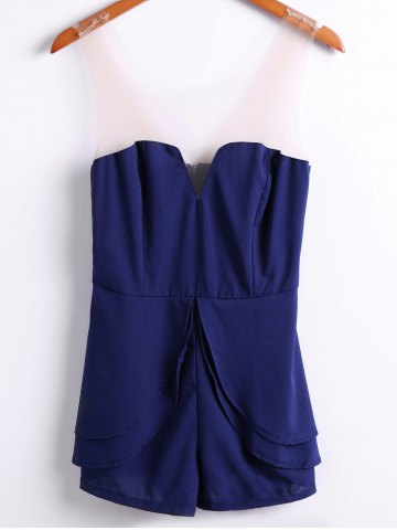 Discount Sexy Style Strapless Solid Color Women's Jumpsuits - M PURPLISH BLUE Mobile