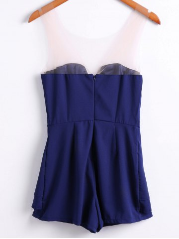 Affordable Sexy Style Strapless Solid Color Women's Jumpsuits - M PURPLISH BLUE Mobile