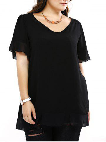 Fancy Plus Size Brief Flounced Sleeve Loose Blouse
