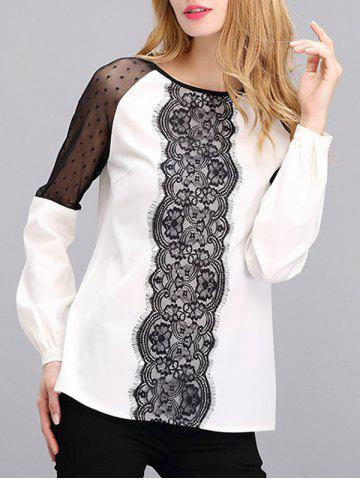 Mesh Lace Spliced Mesh Blouse - White And Black - S