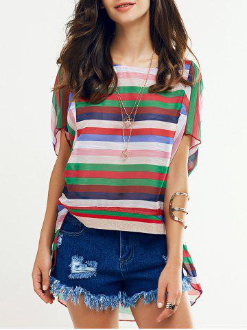 Cheap Colorful Batwing Sleeve Striped T-Shirt For Women