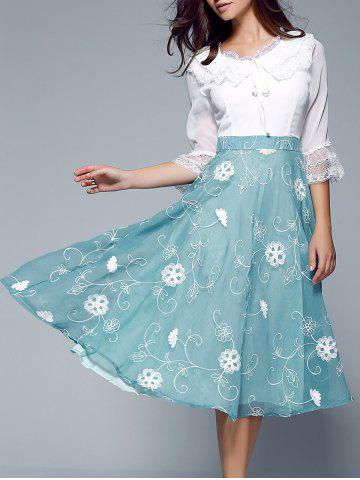 Online Laciness Splicing Ruffled Floral Dress