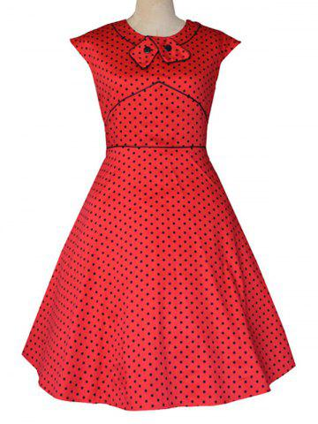 Outfit Retro Flavor Bow Tie Polka Dot Dress RED 2XL