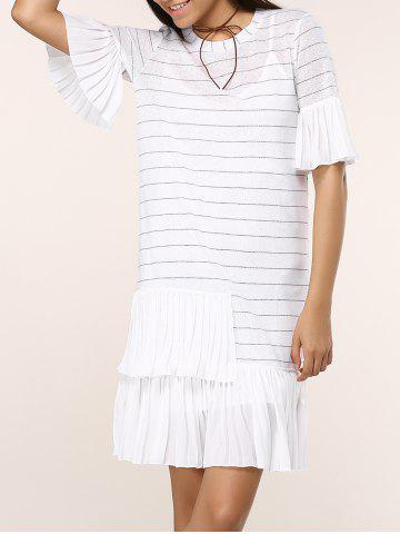 Chic Striped Knitted Flare SLeeve Ruffled Dress Twinset