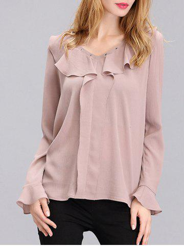 Online Sweet Flare Sleeve Front Frilled Chiffon Blouse For Women