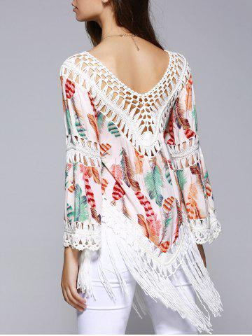 Store Ethnic Crochet Flare Sleeve Feather Print Blouse For Women