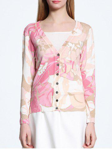 ONE SIZE PINK V Neck Abstract Print  Long Sleeves Cardigan