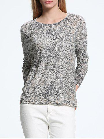 ONE SIZE GRAY Scoop Neck Snake Print Long Sleeves Sweater