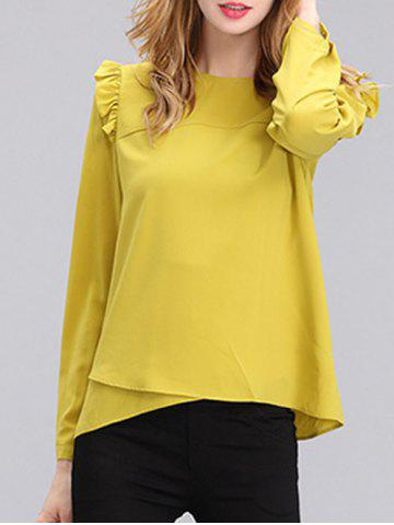Shop Chic Women's Pure Color Ruffled Long Sleeves Blouse YELLOW S