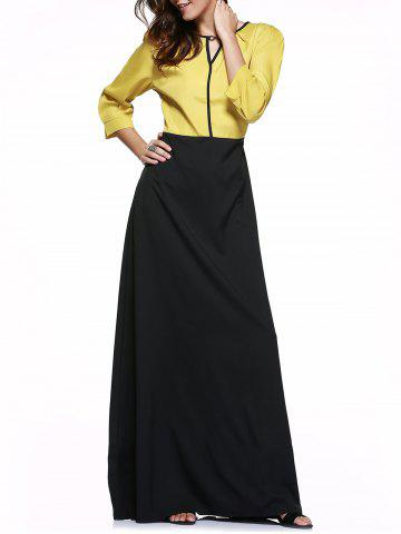 Buy High Waist Hit Color Maxi Dress