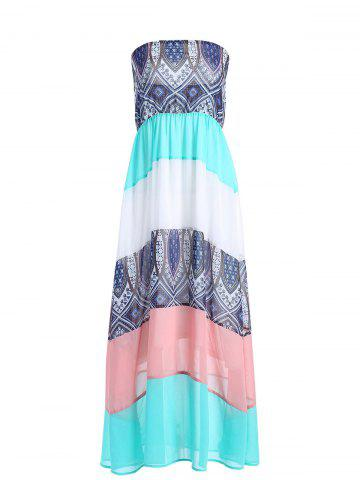 Ethnic Color Block Boob Tube Dress - White + Blue + Green - M
