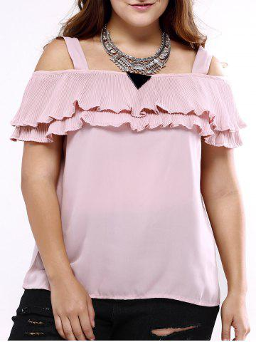 Affordable Oversized Sweet Cold Shoulder Flounced Blouse