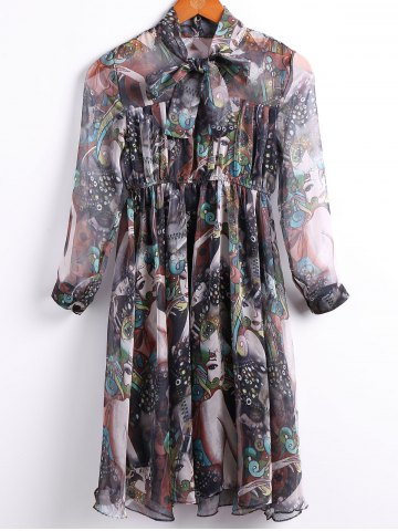 Store Vintage Bow Tied Collar 3/4 Sleeve Multicolor Printed Chiffon Dress For Women